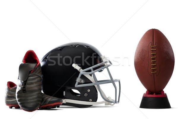Közelkép sportok cipők sisak amerikai futball Stock fotó © wavebreak_media