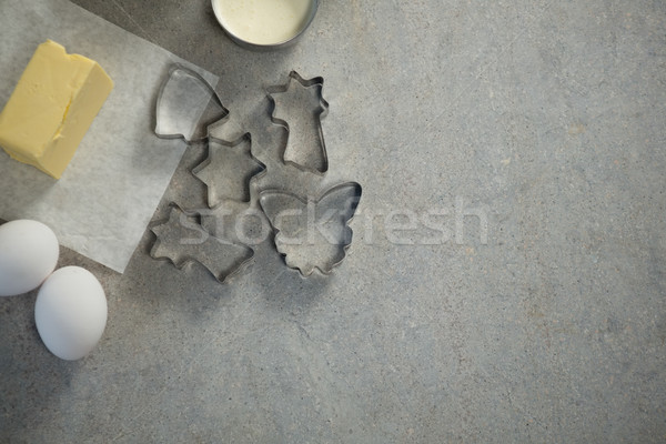Overhead view of various shaped pastry cutters with ingredients Stock photo © wavebreak_media