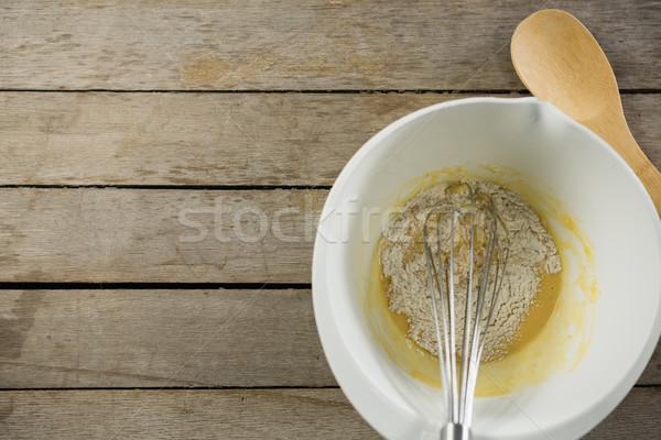 Yumurta un çanak ahşap masa sevmek Stok fotoğraf © wavebreak_media