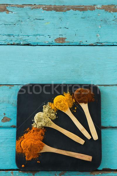 Különböző fűszer por fakanál kilátás fa Stock fotó © wavebreak_media