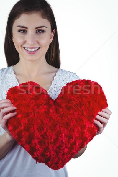 Mujer forma de corazón blanco feliz Foto stock © wavebreak_media