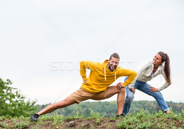 Couple stretching on a hike Stock photo © wavebreak_media