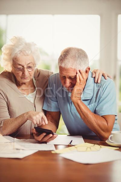 Starszy para domu człowiek okno starszych Zdjęcia stock © wavebreak_media