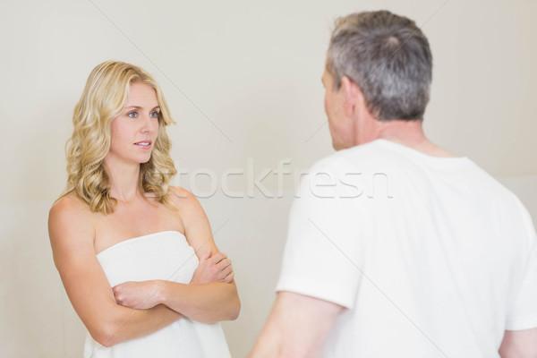 расстраивать пару аргумент ванную женщину домой Сток-фото © wavebreak_media