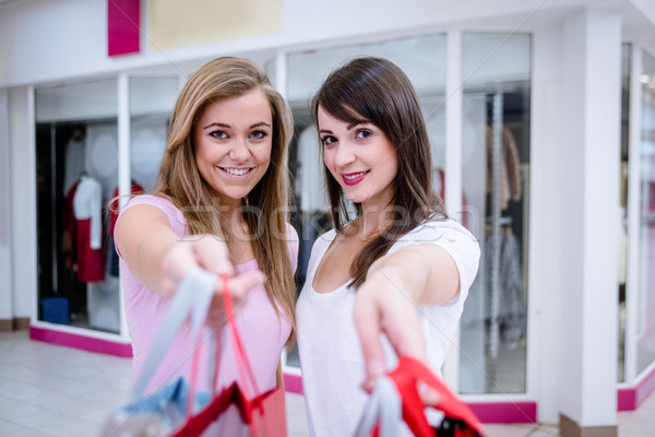 Portrait of two beautiful women shopping in mall Stock photo © wavebreak_media