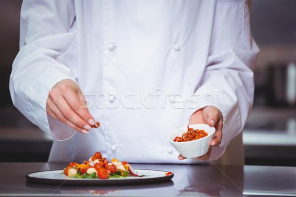 Chef sprinkling spices on dish Stock photo © wavebreak_media