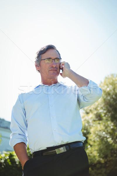 Lezser érett üzletember telefonbeszélgetés terasz öltöny Stock fotó © wavebreak_media