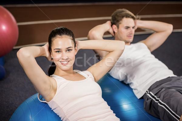Adam kadın karın uygunluk top spor salonu Stok fotoğraf © wavebreak_media