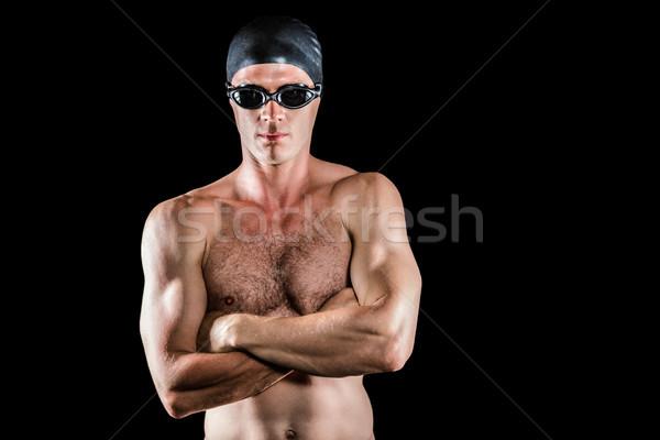 Pływak stwarzające czarny człowiek szkolenia Zdjęcia stock © wavebreak_media
