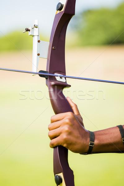 Atleet oefenen boogschieten stadion hand sport Stockfoto © wavebreak_media