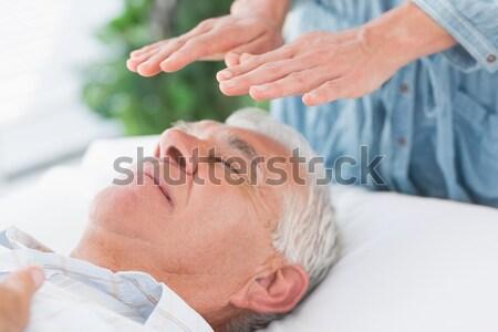 シニア 男 頭 マッサージ 女性 歳の男性 ストックフォト © wavebreak_media