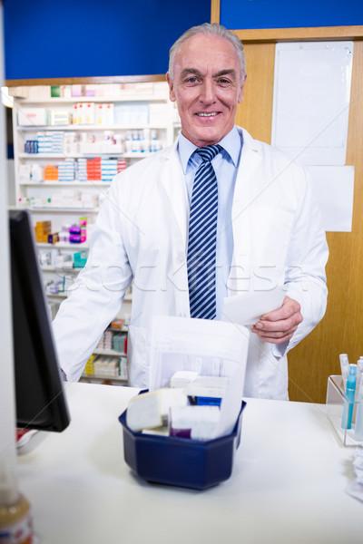 Farmaceuta stałego Licznik portret apteki komputera Zdjęcia stock © wavebreak_media