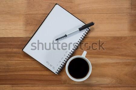 Koffiekopje dagboek pen tabel business Stockfoto © wavebreak_media