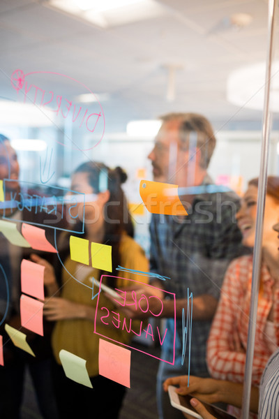 Stockfoto: Creatieve · business · team · naar · sticky · notes · glas · venster