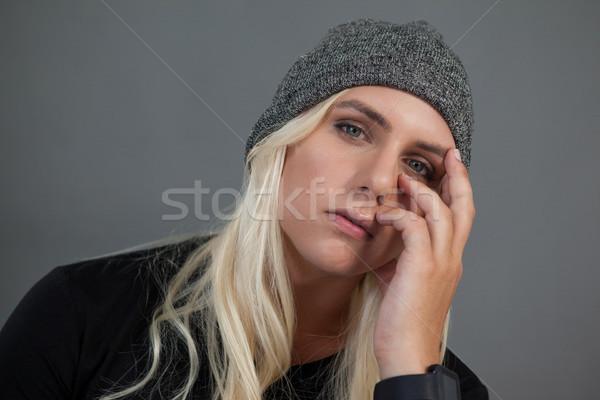 Portrait of transgender woman wearing knit hat Stock photo © wavebreak_media