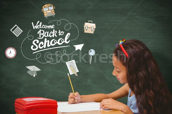 összetett kép asztal iskola boldog gyermek Stock fotó © wavebreak_media