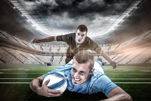 összetett kép rögbi játékos elöl labda Stock fotó © wavebreak_media