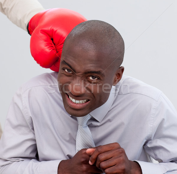 Portrait of an Afro-American businessman being boxed Stock photo © wavebreak_media