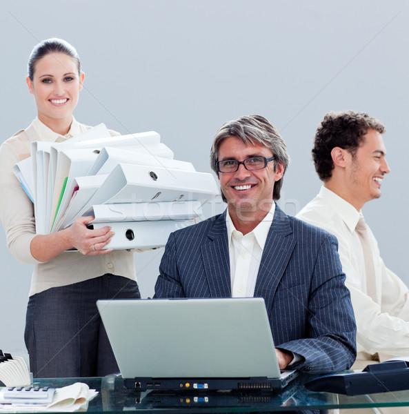 Portre hırslı iş ekibi çalışmak ofis bilgisayar Stok fotoğraf © wavebreak_media