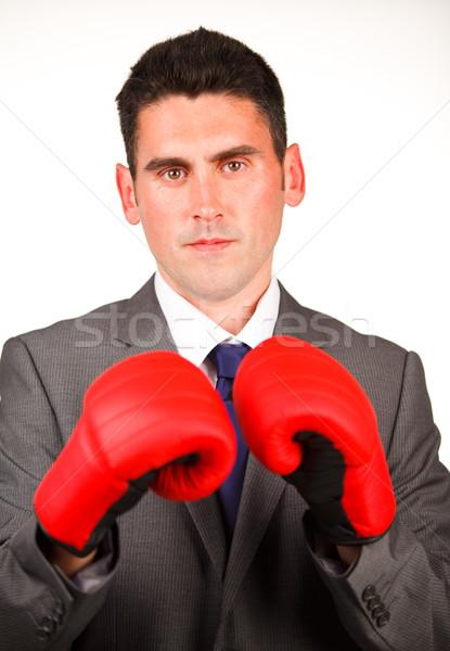 серьезный бизнесмен боксерские перчатки глядя камеры бизнеса Сток-фото © wavebreak_media