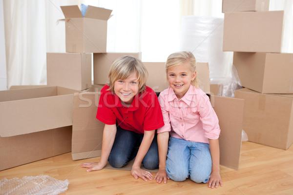 Gelukkig broer familie huis Stockfoto © wavebreak_media