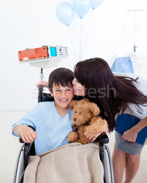 Cheerful little boy sitting on wheelchair and his mother Stock photo © wavebreak_media
