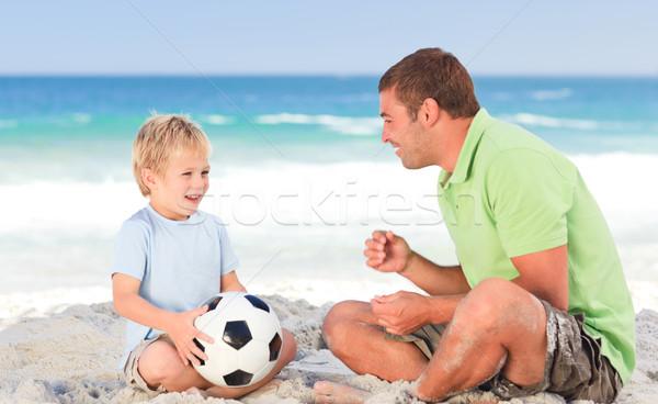Foto stock: Feliz · padre · jugando · fútbol · hijo · playa