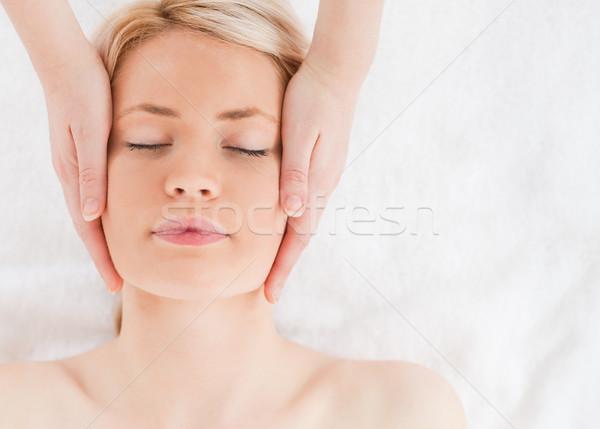 Elragadtatott nő masszázs arc fürdő centrum Stock fotó © wavebreak_media