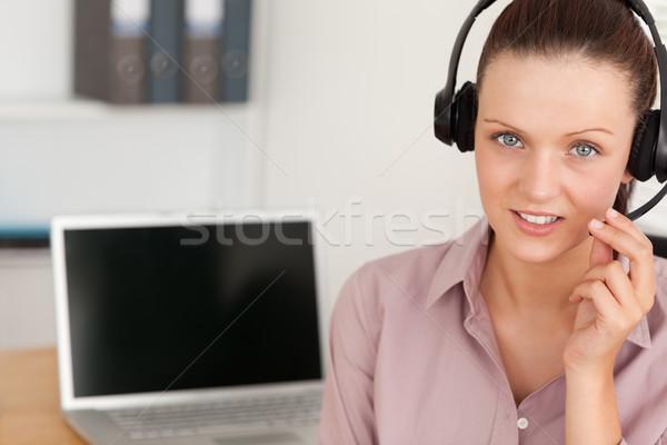 Operatör ofis dizüstü bilgisayar iş bilgisayar Stok fotoğraf © wavebreak_media