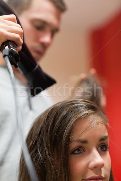 Portret knap kapper haren klant Stockfoto © wavebreak_media