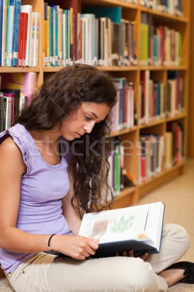 Portré diák olvas könyv könyvtár nő Stock fotó © wavebreak_media