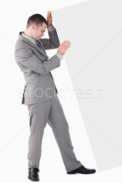Portré üzletember toló panel fehér üzlet Stock fotó © wavebreak_media