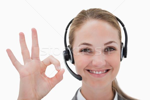Zdjęcia stock: Uśmiechnięty · call · center · agent · biały · działalności · uśmiech