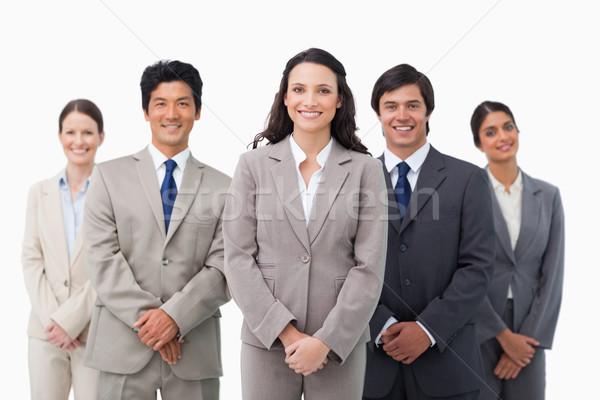 Glimlachend permanente collega's witte business glimlach Stockfoto © wavebreak_media