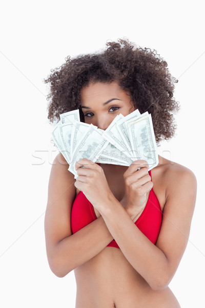 Morena mujer ocultación cara detrás dos Foto stock © wavebreak_media