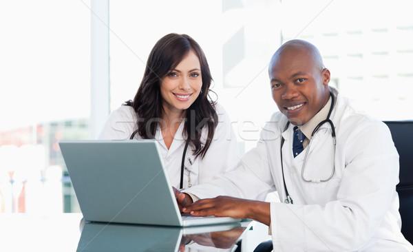 Photo stock: Médicaux · personnel · travail · gris · portable · séance
