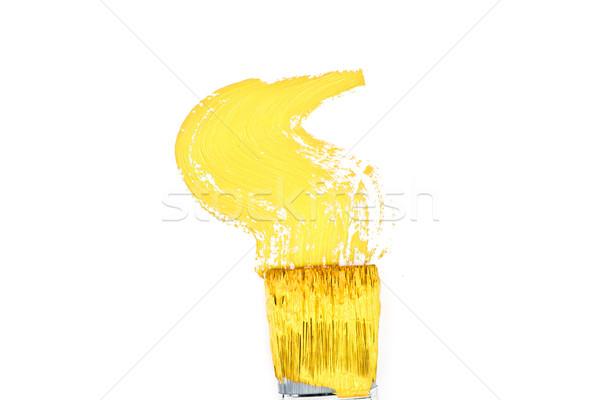 Geel borstel zigzag witte kunst onderwijs Stockfoto © wavebreak_media