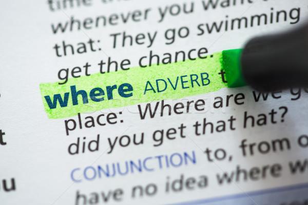 Bestimmung grünen Wörterbuch Informationen Briefe Studium Stock foto © wavebreak_media