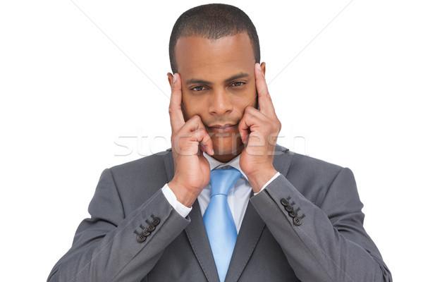 üzletember ujjak arc férfi áll fáradt Stock fotó © wavebreak_media