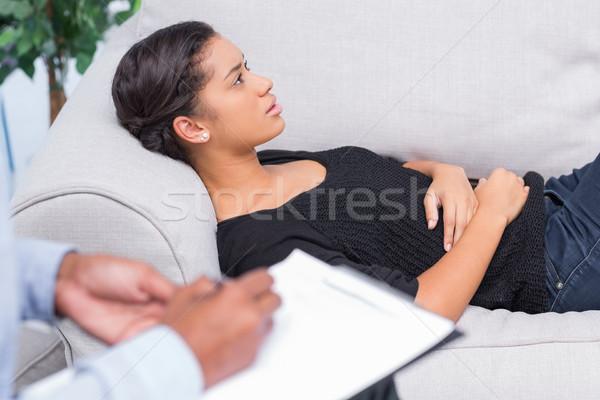 Nő beszél terápia terapeuta szomorú kanapé Stock fotó © wavebreak_media