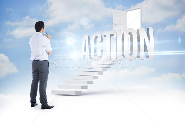Action against steps leading to open door in the sky Stock photo © wavebreak_media