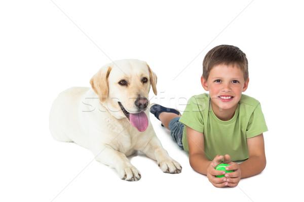 Cute weinig jongen bal vloer Stockfoto © wavebreak_media