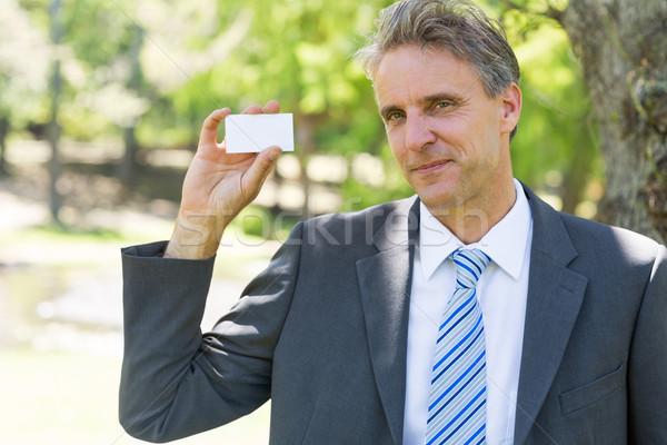 бизнесмен визитной карточкой портрет парка бизнеса Сток-фото © wavebreak_media