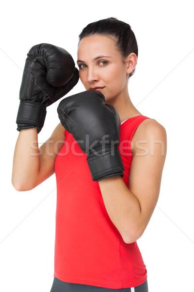 Portret vastbesloten vrouwelijke bokser gericht opleiding Stockfoto © wavebreak_media