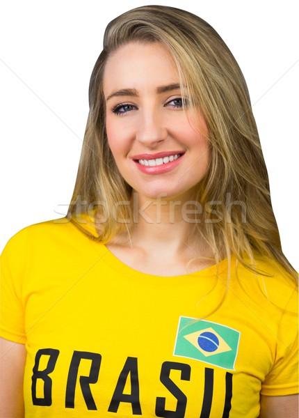 Bastante fútbol ventilador brasil camiseta blanco Foto stock © wavebreak_media