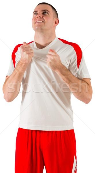 Heyecanlı beyaz futbol dişli Stok fotoğraf © wavebreak_media