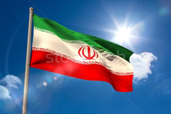 Иран флаг флагшток Blue Sky солнце свет Сток-фото © wavebreak_media