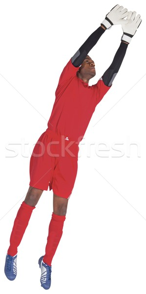 Kapus piros készít mentés fehér futball Stock fotó © wavebreak_media