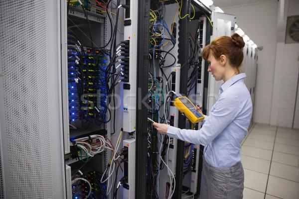 Stock fotó: Technikus · digitális · kábel · szerver · boldog · nagy