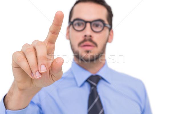 Zakenman bril wijzend iets witte business Stockfoto © wavebreak_media